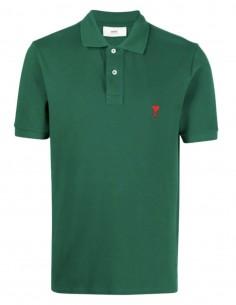 """AMI PARIS green polo shirt with """"Ami de coeur"""" logo for men - FW21"""