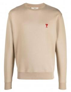 "AMI PARIS beige sweater with ""Ami de coeur"" logo for men - FW21"