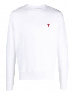 "AMI PARIS white sweater with ""Ami de coeur"" logo for men - FW21"