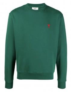 "AMI PARIS green sweater with ""Ami de coeur"" logo for men - FW21"