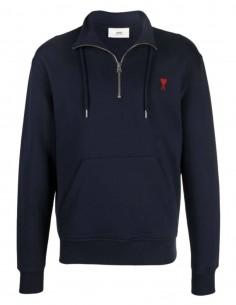 """AMI PARIS navy zipped collar sweatshirt with """"Ami de coeur"""" logo for men - FW21"""