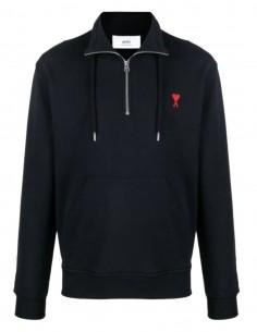 """AMI PARIS black zipped collar sweatshirt with """"Ami de coeur"""" logo for men - FW21"""