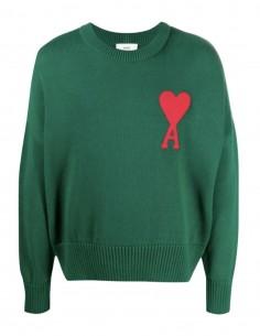 """Pull AMI PARIS vert logo """"Ami de coeur"""" pour homme - FW21"""