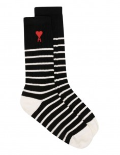 "AMI PARIS ""Ami de coeur"" black and white striped socks - FW21"