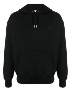 """Sweatshirt oversize AMI PARIS noir logo """"Ami de coeur"""" pour homme - FW21"""