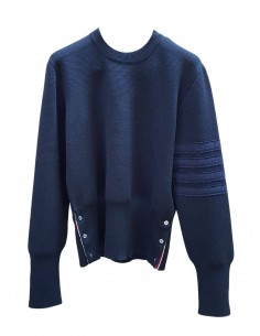 Pull THOM BROWNE en laine bleue avec bandes Shetland pour homme - SS21