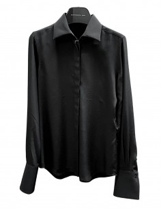 BARBARA BUI shirt in black silk with buttons under placket for women - SS21