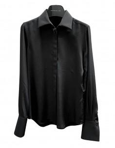 Chemise BARBARA BUI en soie noire boutons sous patte pour femme - SS21