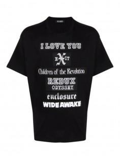 """T-shirt noir RAF SIMONS """"I Love You"""" avec slogans pour homme - SS21"""