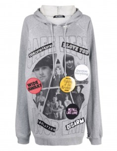 """Sweat destroyed RAF SIMONS gris """"Welcome Home"""" oversize pour homme - SS21"""