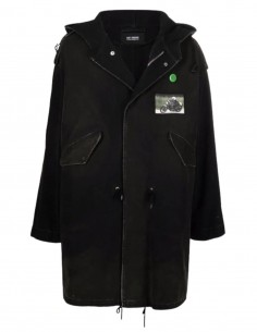RAF SIMONS grey fishtail parka with hood and patch for men - SS21