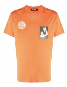 RAF SIMONS orange t-shirt with 2 patches for men - SS21