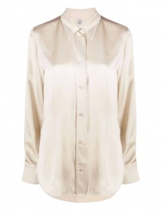 TOTEME shirt in ecru silk with pearly buttons for women - FW21