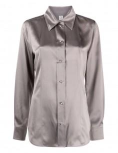 Chemise TOTEME en soie grise avec boutons nacrés pour femme - FW21