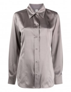 TOTEME shirt in grey silk with pearly buttons for women - FW21