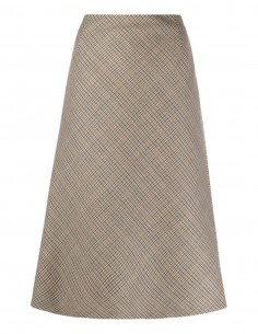 MAISON MARGIELA brown houndstooth skirt in wool for women - FW21