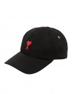 """AMI PARIS black cap with """"Ami de coeur"""" logo for men - FW21"""