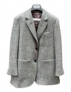Straight jacket with chevron pattern in grey tweed THOM BROWNE
