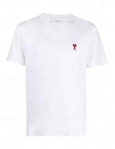 """T-shirt blanc AMI PARIS logo rouge """"Ami de coeur"""" pour homme - FW21"""