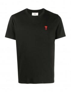 "AMI PARIS black t-shirt with red logo ""Ami de coeur"" for men - FW21"