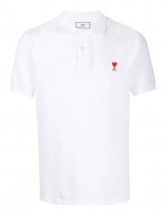 """Polo AMI PARIS en coton blanc logo """"Ami de coeur"""" rouge pour homme - FW21"""