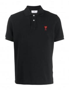 "AMI PARIS polo shirt in black cotton with red ""Ami de coeur"" logo for men - FW21"