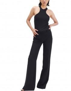 Pantalon plissé BARBARA BUI noir coupe flare pour femme - SS21