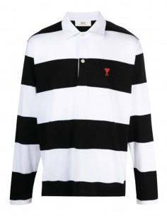 "AMI PARIS polo shirt with black and white striped ""Ami de coeur"" logo for men - FW21"