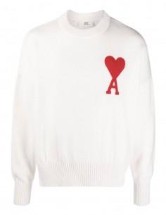 """Pull AMI PARIS écru logo """"Ami de coeur"""" pour homme - FW21"""