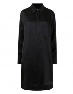 Robe chemise MM6 noire satinée pour femme - FW21