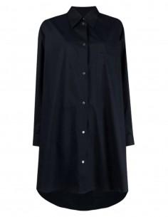 Robe chemise MM6 en popeline de coton bleue marine pour femme  - SS21