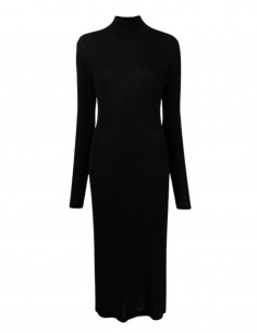 MM6 black ribbed body-hugging sweater dress with high neck for women - FW21