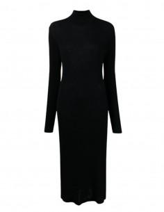 Robe pull moulante MM6 côtelée noire avec col montant pour femme - FW21