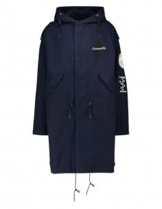 Parka fishtail RAF SIMONS bleu à capuche avec patch pour homme - SS21