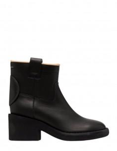 Boots à talons épais MM6 bout rond en cuir noir pour femme - FW21