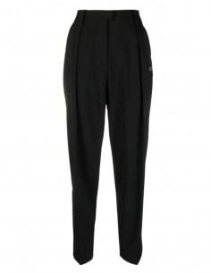 OFF-WHITE black cigarette pants with pleats and logo for women - SS21
