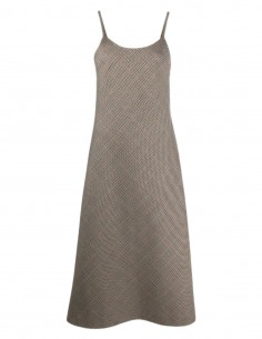 MAISON MARGIELA houndstooth dress with straps in brown wool - FW21