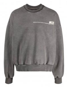 Pull col rond VAL KRISTOPHER oversize gris avec logo pour homme - SS21