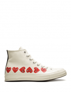 High-top multi-heart sneakers in ecru canvas from the COMME DES GARÇONS PLAY x CONVERSE collaboration.