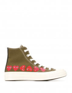 High-top multi-heart sneakers in kaki canvas from the COMME DES GARÇONS PLAY x CONVERSE collaboration.