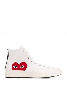 COMME DES GARÇONS PLAY x CONVERSE ecru canvas high top sneakers.