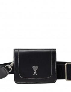 Mini sac accordéon AMI PARIS en cuir noir avec bandoulière - Permanent