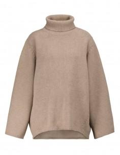 Pull large TOTÊME col roulé en laine beige pour femme - FW21