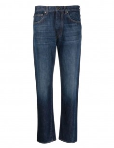 TOTÊME blue jeans with twisted seams and logo patch for women - FW21