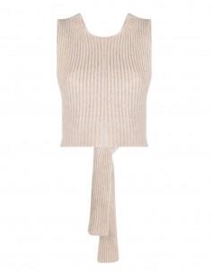 GANNI halterneck crossover top in beige ribbed knit for women - FW21