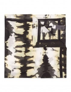 GANNI tie and dye scarf in yellow and black cotton for women - FW21