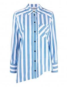 GANNI striped blue cotton shirt with asymmetrical edge for women - FW21