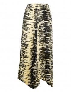 Jupe taille haute GANNI en satin imprimé zèbre jaune et noir - FW21