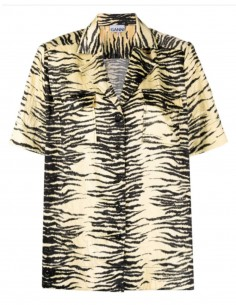 GANNI shirt in yellow and black zebra print satin and shoulder pads - FW21