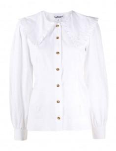 Chemise GANNI blanche col chorale avec fronces pour femme - FW21
